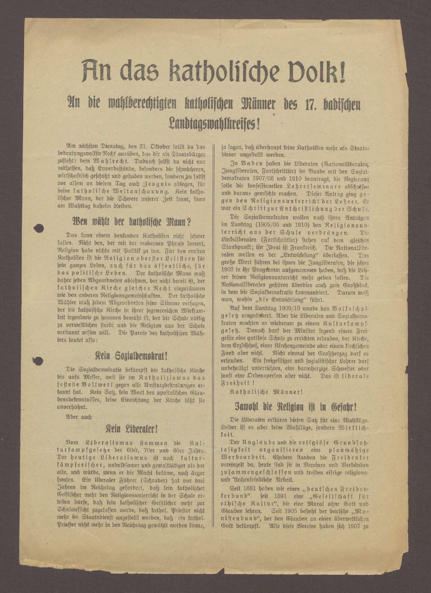 """Flugblatt: """"An das katholische Volk! An die wahlberechtigten katholischen Männer... Josef Duffner, Gutsbesitzer in Furtwangen"""", Preßverein Neustadt, Titisee-Neustadt, Bild 1"""