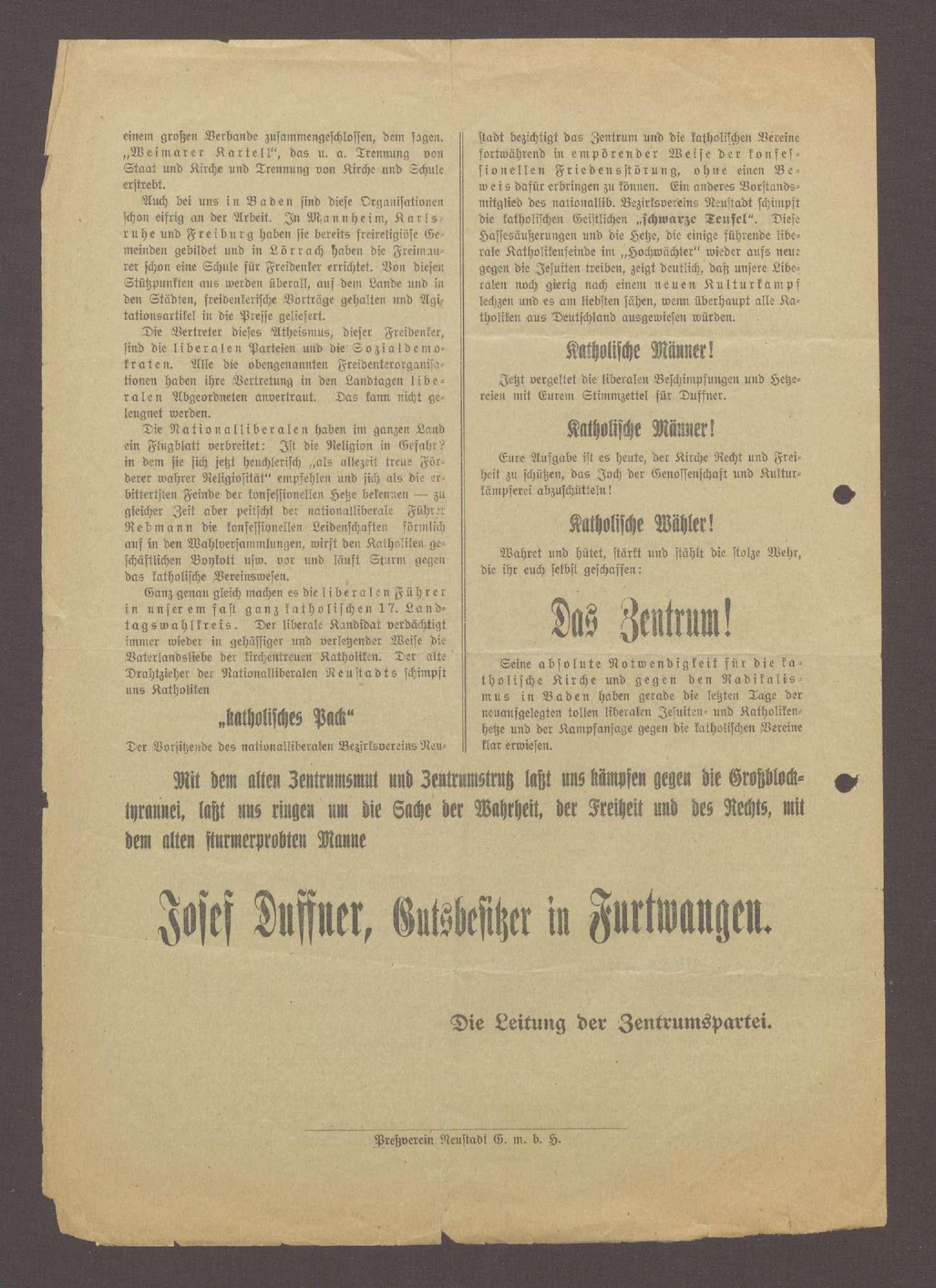 """Flugblatt: """"An das katholische Volk! An die wahlberechtigten katholischen Männer... Josef Duffner, Gutsbesitzer in Furtwangen"""", Preßverein Neustadt, Titisee-Neustadt, Bild 2"""