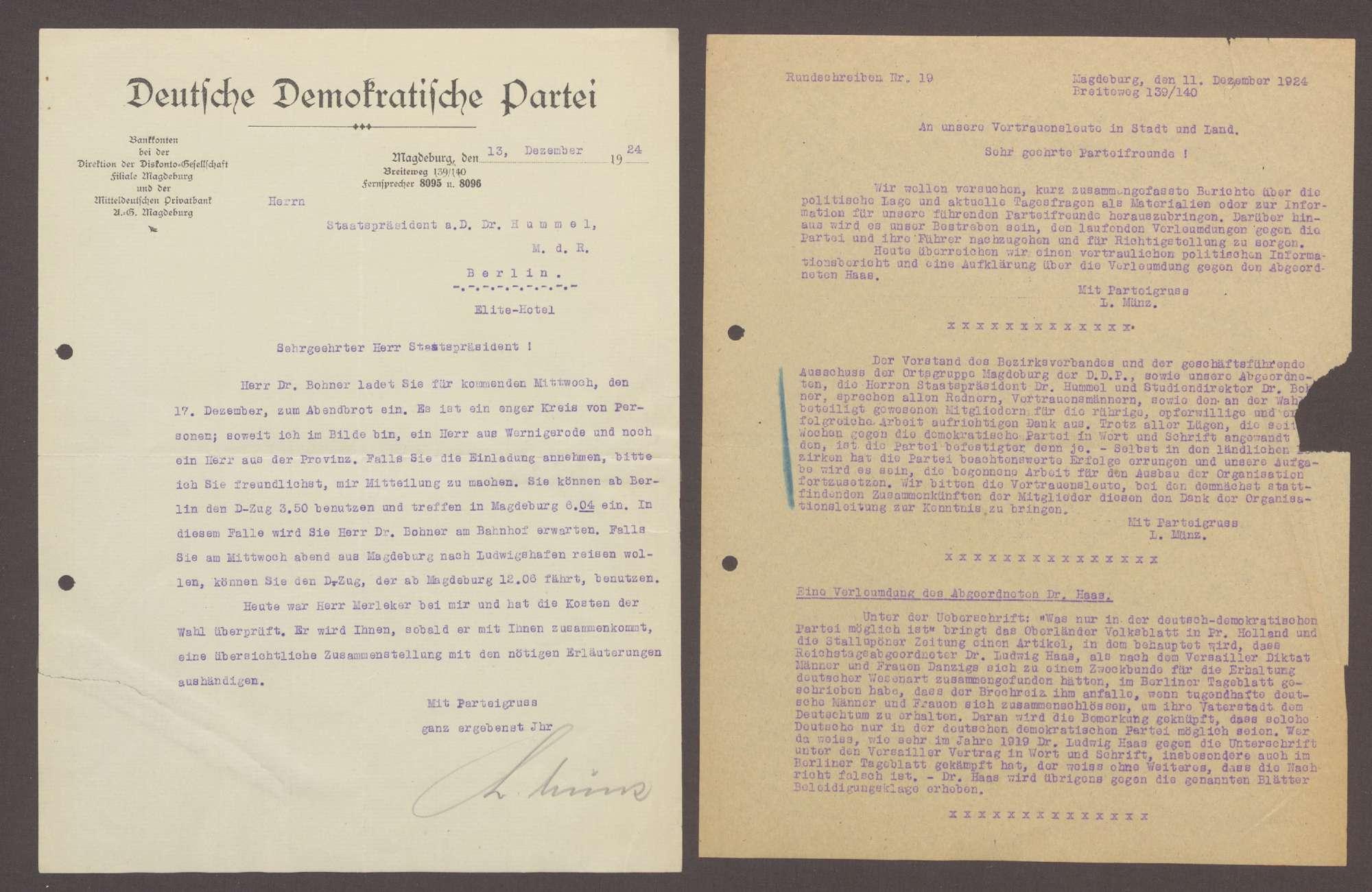 Schreiben von Ludwig Münz, DDP Ortsgruppe Magdeburg, an Hermann Hummel: Einladung zu einem Abendessen mit Theordor Bohner;, Bild 1