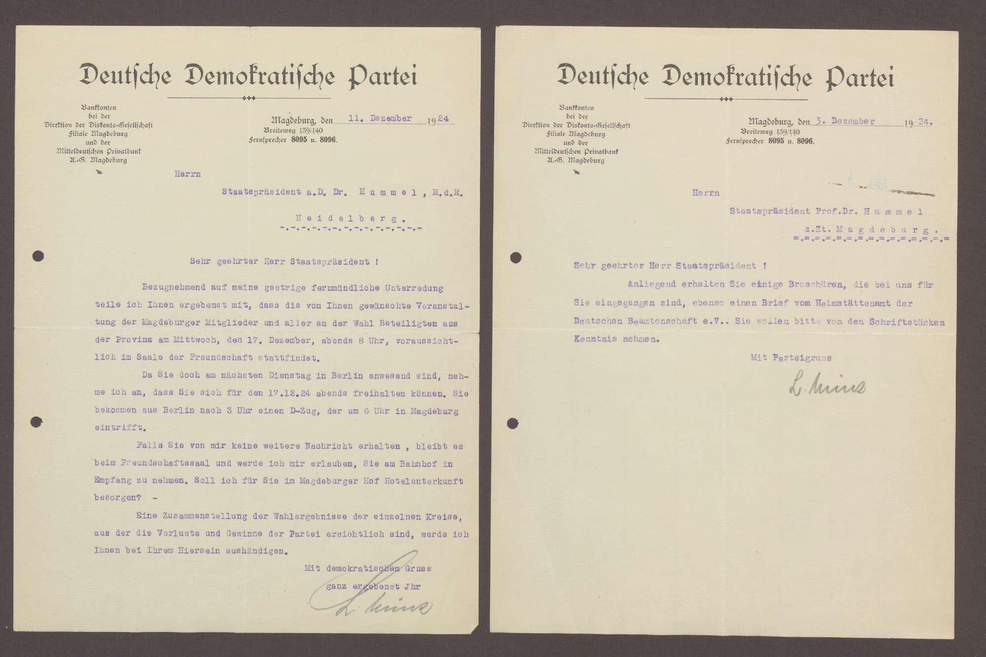 Schreiben von Ludwig Münz, DDP Ortsgruppe Magdeburg, an Hermann Hummel: Einladung zu einem Abendessen mit Theordor Bohner;, Bild 2