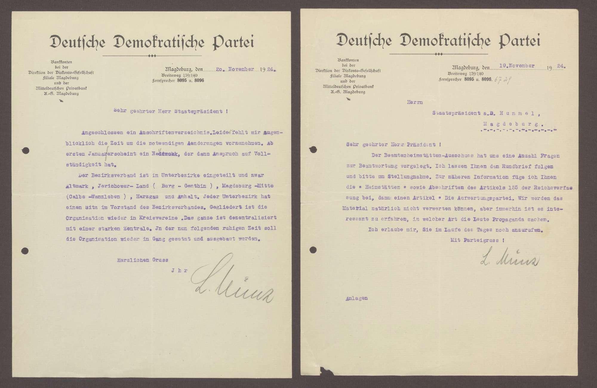 Schreiben von Ludwig Münz, DDP Ortsgruppe Magdeburg, an Hermann Hummel: Einladung zu einem Abendessen mit Theordor Bohner;, Bild 3
