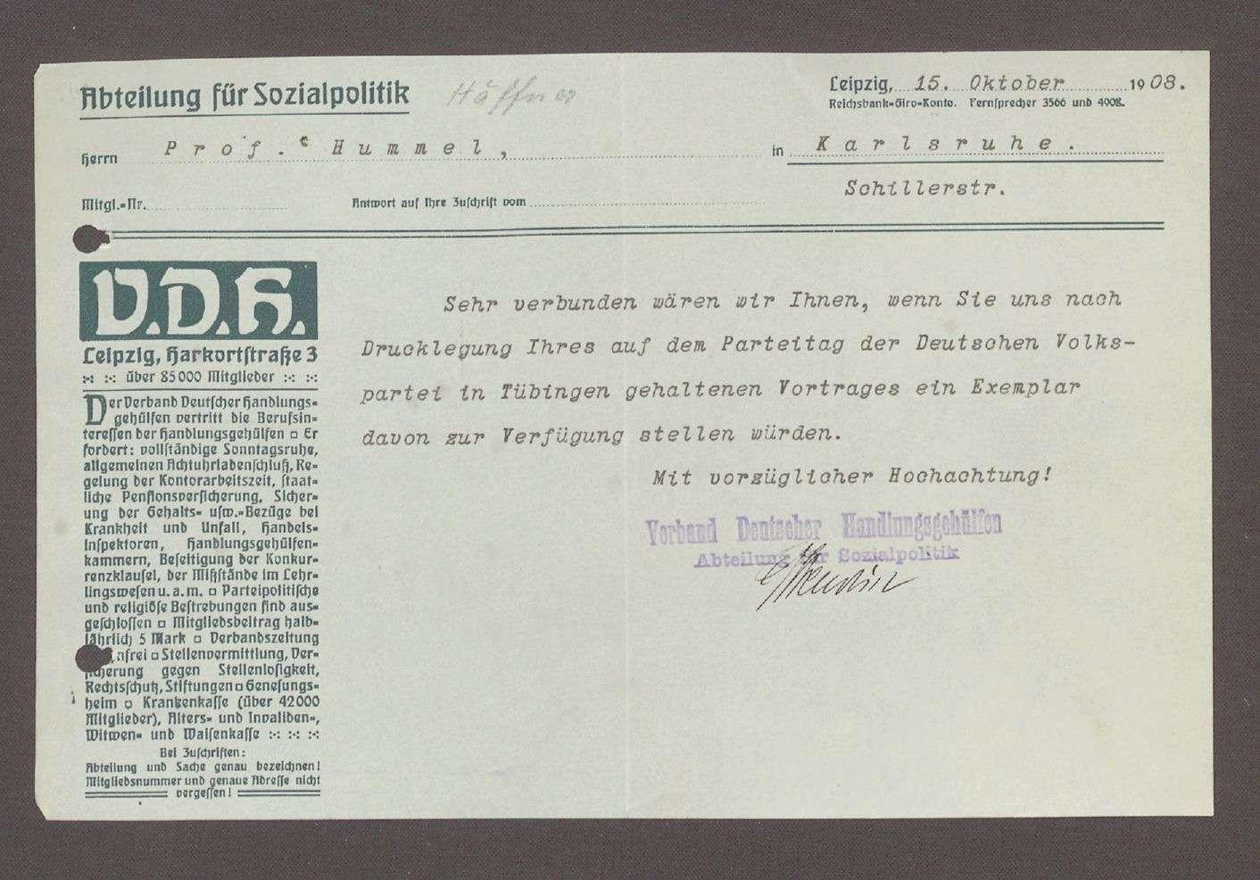 Schreiben des Verbandes Deutscher Handlungsgehilfen, Abteiung für Sozialpolitik, Leipzig, an Hermann Hummel: Bitte um die Zusendung eines Vortrags von Hummel, 1 Schreiben, Bild 1