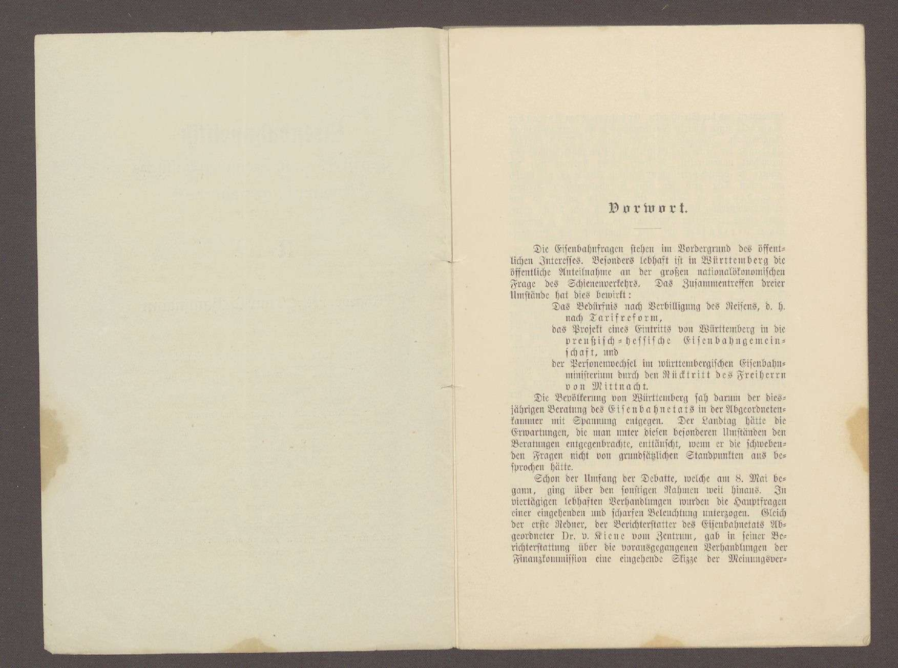 Druckschrift: Haußmann, Conrad: Eisenbahnpolitik - Tarifreform und preußisch-hessische Eisenbahngemeinschaft, Rede vor dem württembergischen Landtag vom 09.05.1901, Stuttgart, Bild 2