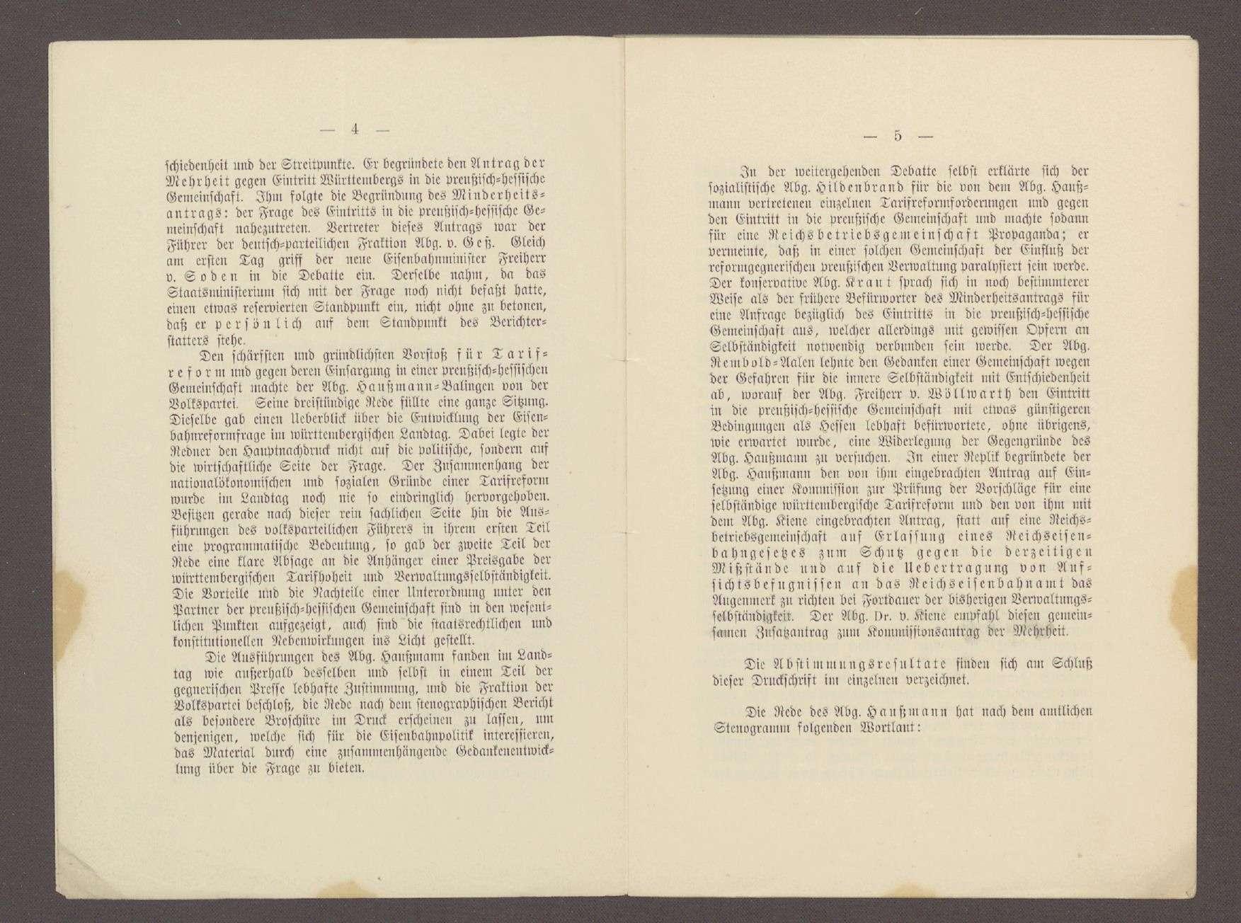 Druckschrift: Haußmann, Conrad: Eisenbahnpolitik - Tarifreform und preußisch-hessische Eisenbahngemeinschaft, Rede vor dem württembergischen Landtag vom 09.05.1901, Stuttgart, Bild 3