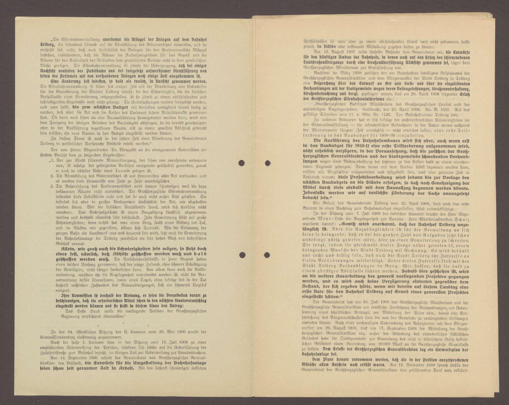 Druckschrift: Eingabe des Gemeinderates der Stadt Triberg an die hohe Zweite Kammer der badischen Landstände in Karlsruhe, Bild 2
