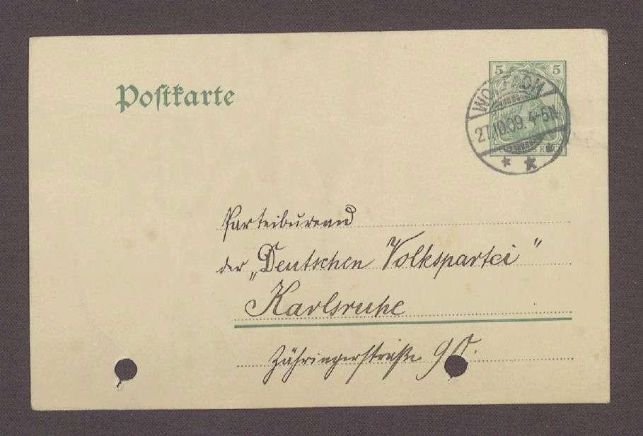 Postkarte von Fritz Heck, Wolfach, an Otto Ernst Sutter: Wahlkampf in Wolfach, 1. Postkarte, Bild 1