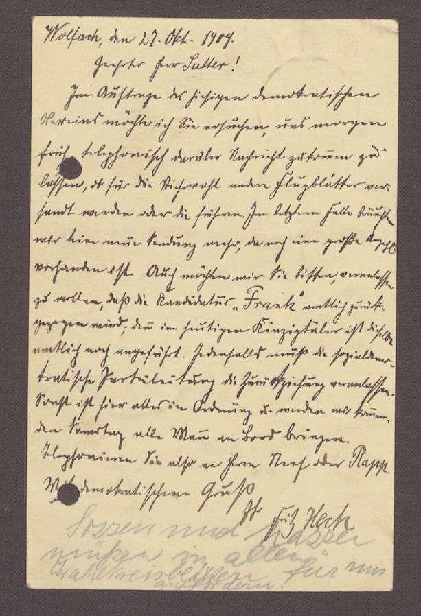 Postkarte von Fritz Heck, Wolfach, an Otto Ernst Sutter: Wahlkampf in Wolfach, 1. Postkarte, Bild 2