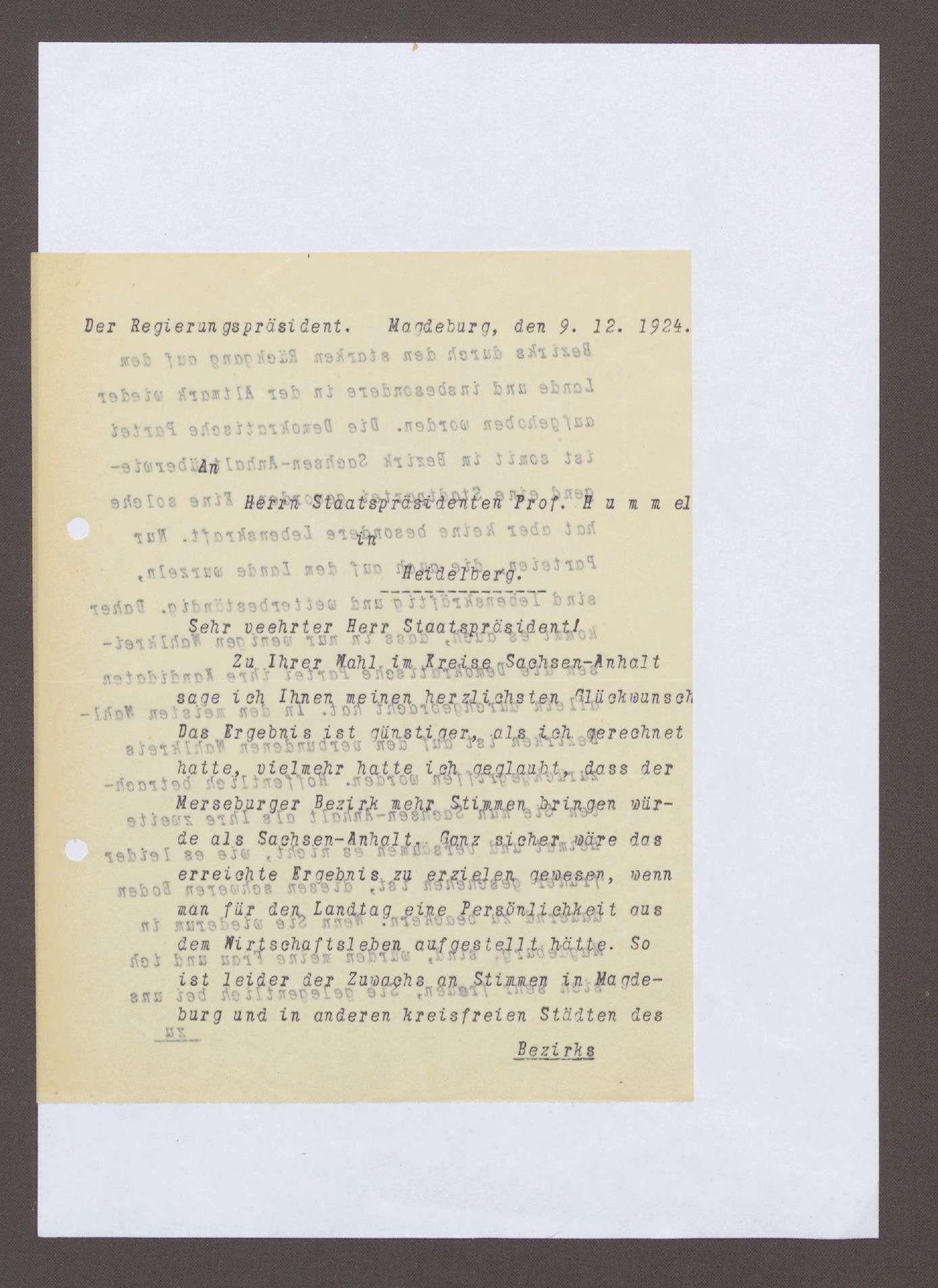 Schreiben des Regierungspräsidenten des Regierungsbezirks Magdeburg, Alexander Pohlmann, Magdeburg, an Hermann Hummel: Glückwünsche zum Wahlsieg, 1 Schreiben, Bild 1