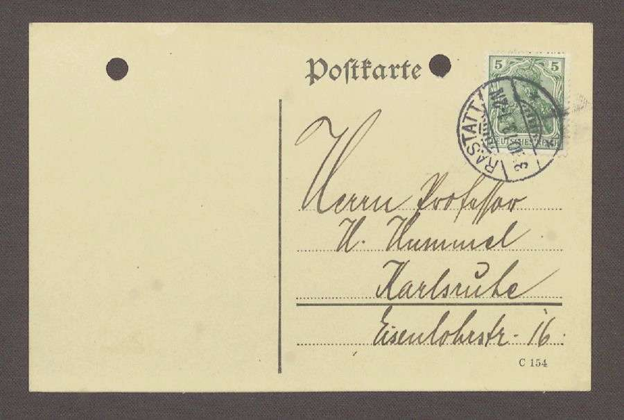 Gratulationspostkarte aus Rastatt an Hermann Hummel, 1 Postkarte, Bild 1