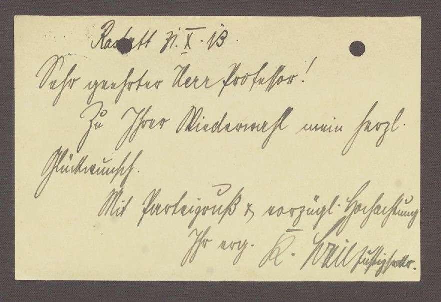 Gratulationspostkarte aus Rastatt an Hermann Hummel, 1 Postkarte, Bild 2