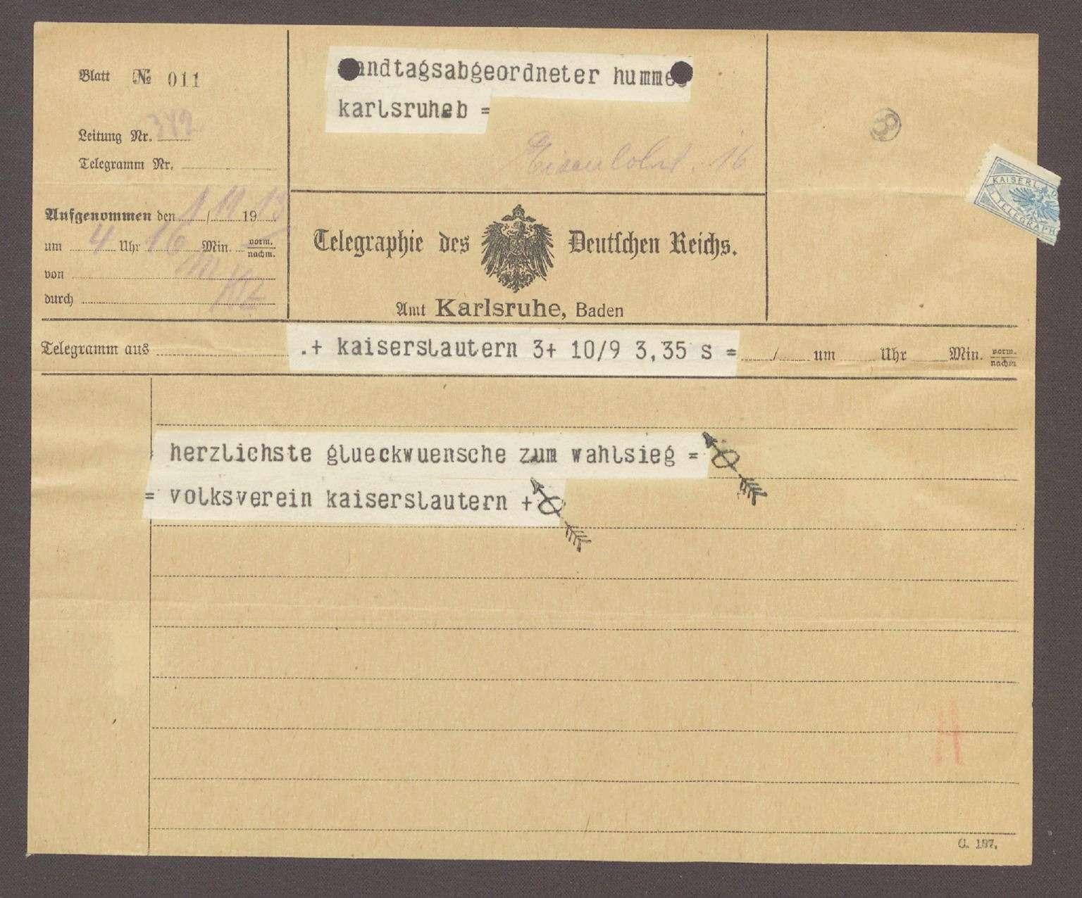 Glückwunschtelegramm vom Volksverein Kaiserslautern an Hermann Hummel, 1 Telegramm, Bild 1
