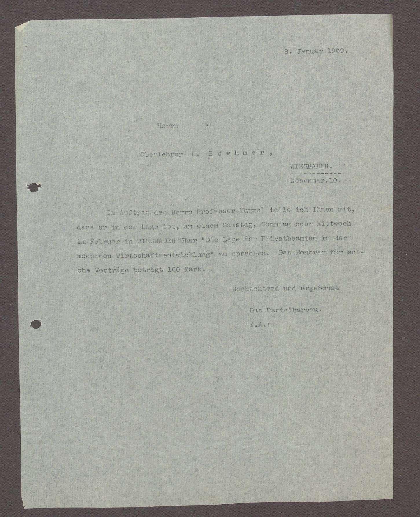 Schreiben an den Oberlehrer H. Boehmer, Wiesbaden: Vortrag in Wiesbaden, 1 Schreiben, Bild 1