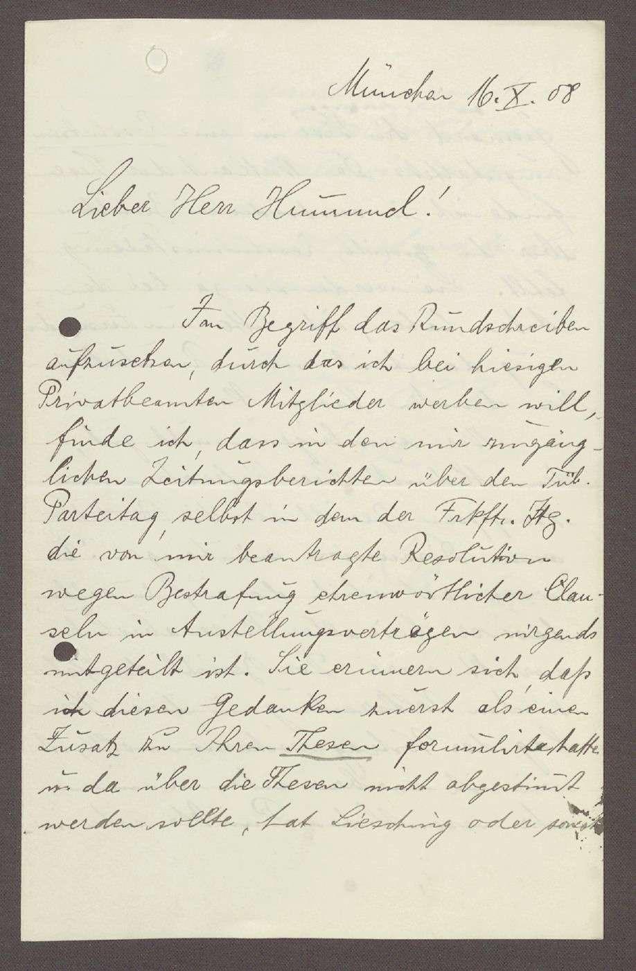 Schreiben von Ludwig Quidde, München, an Hermann Hummel: Beschwerde darüber, dass eine politische Passage in den Thesen von Hummel fehlt, 1 Schreiben, Bild 1