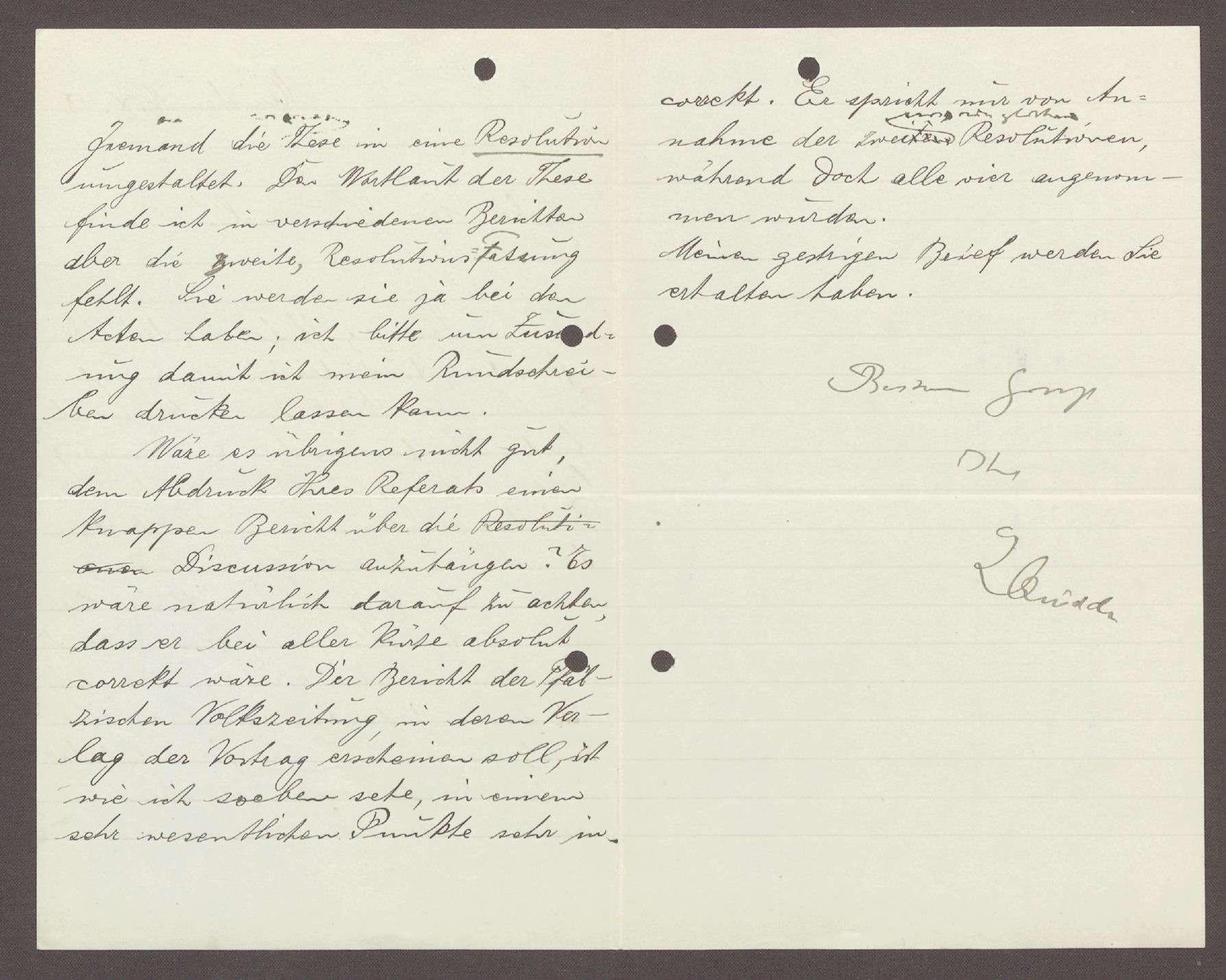 Schreiben von Ludwig Quidde, München, an Hermann Hummel: Beschwerde darüber, dass eine politische Passage in den Thesen von Hummel fehlt, 1 Schreiben, Bild 2