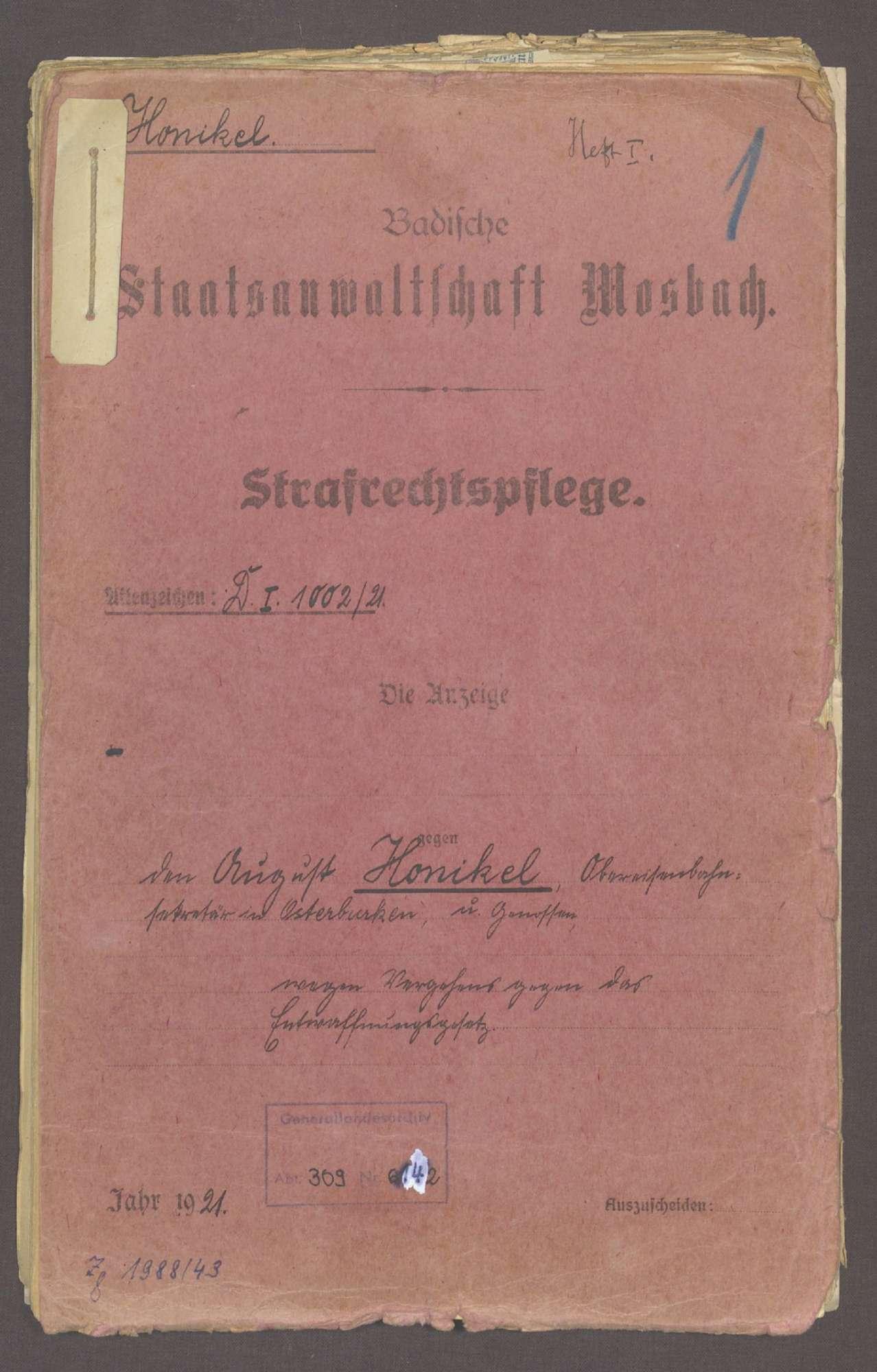 Honikel, August, geb. 09.12.1884 in Dittwar, Obereisenbahnsekretär, Bild 1