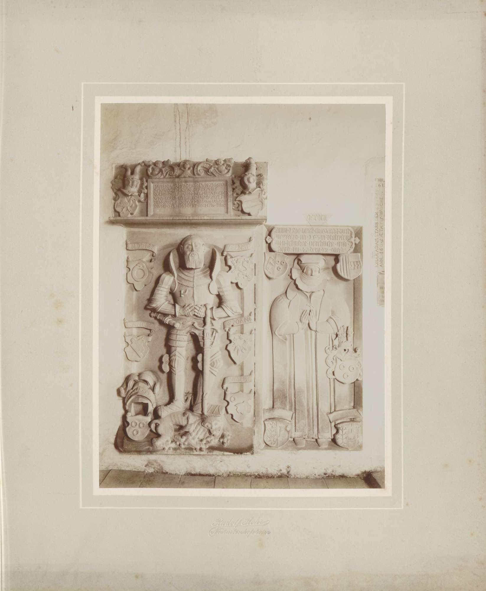 Neckarbischofsheim, Totenkirche, Grabplatte Philipp und Margarete von Helmstatt., Bild 1