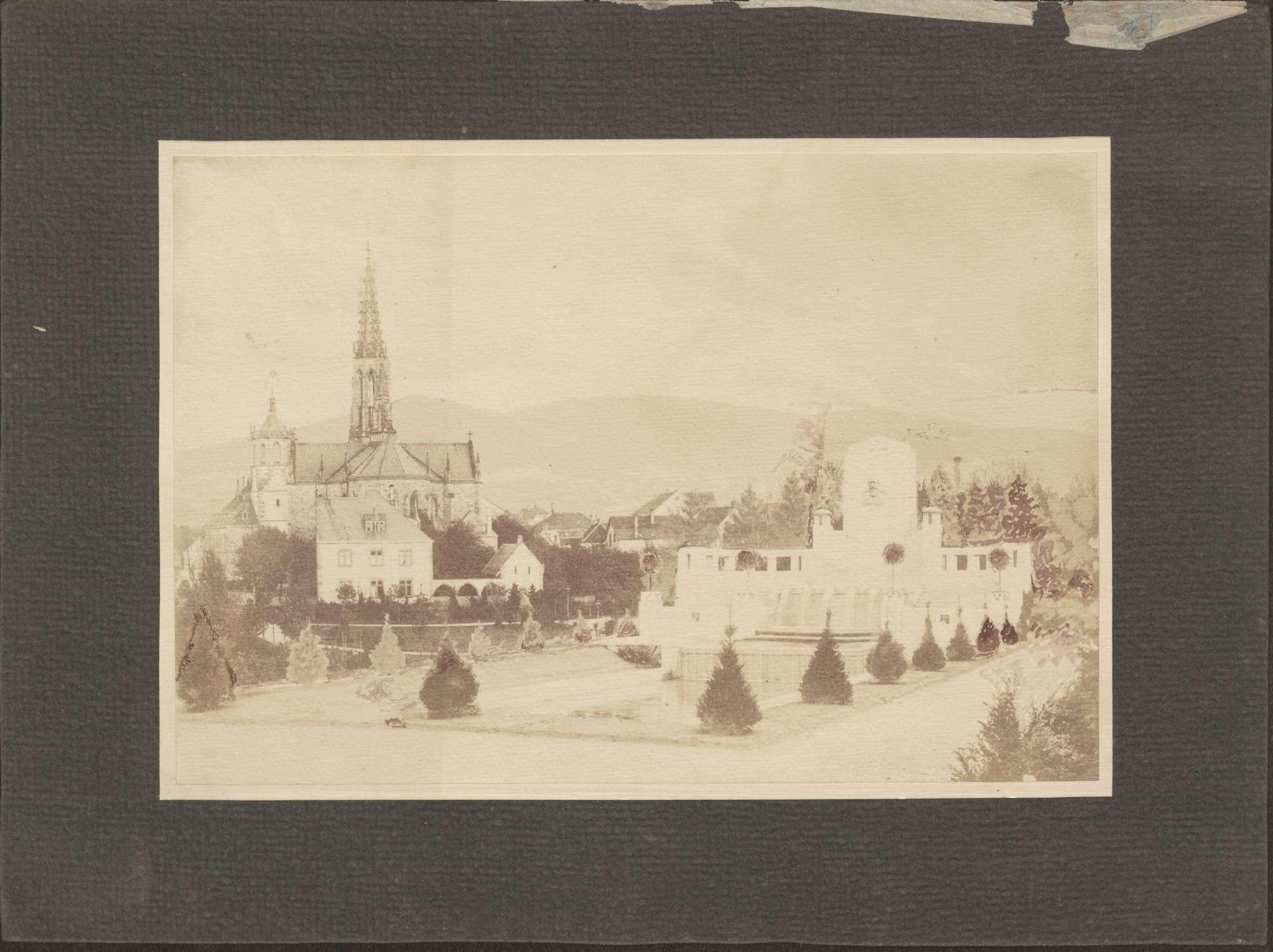 """""""Denkmal [Großherzog] F[riedrichs] I. in der Stadt Bühl im Mai 1909""""., Bild 1"""