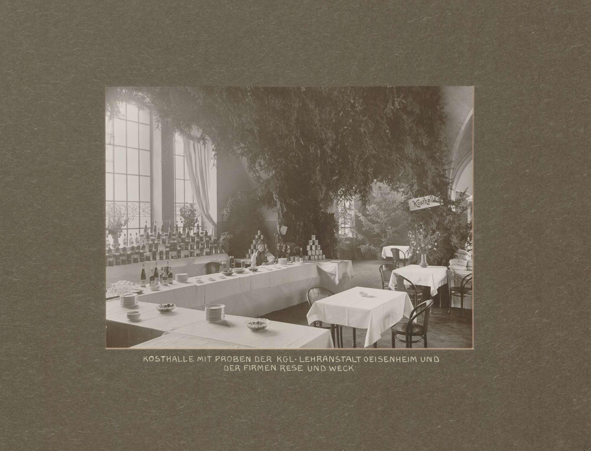 Kosthalle mit Proben der Königlichen Lehranstalt Geisenheim und der Firmen Rese und Weck bei der Internationalen Kunst- und Großen Gartenbauausstellung in Mannheim, Bild 1
