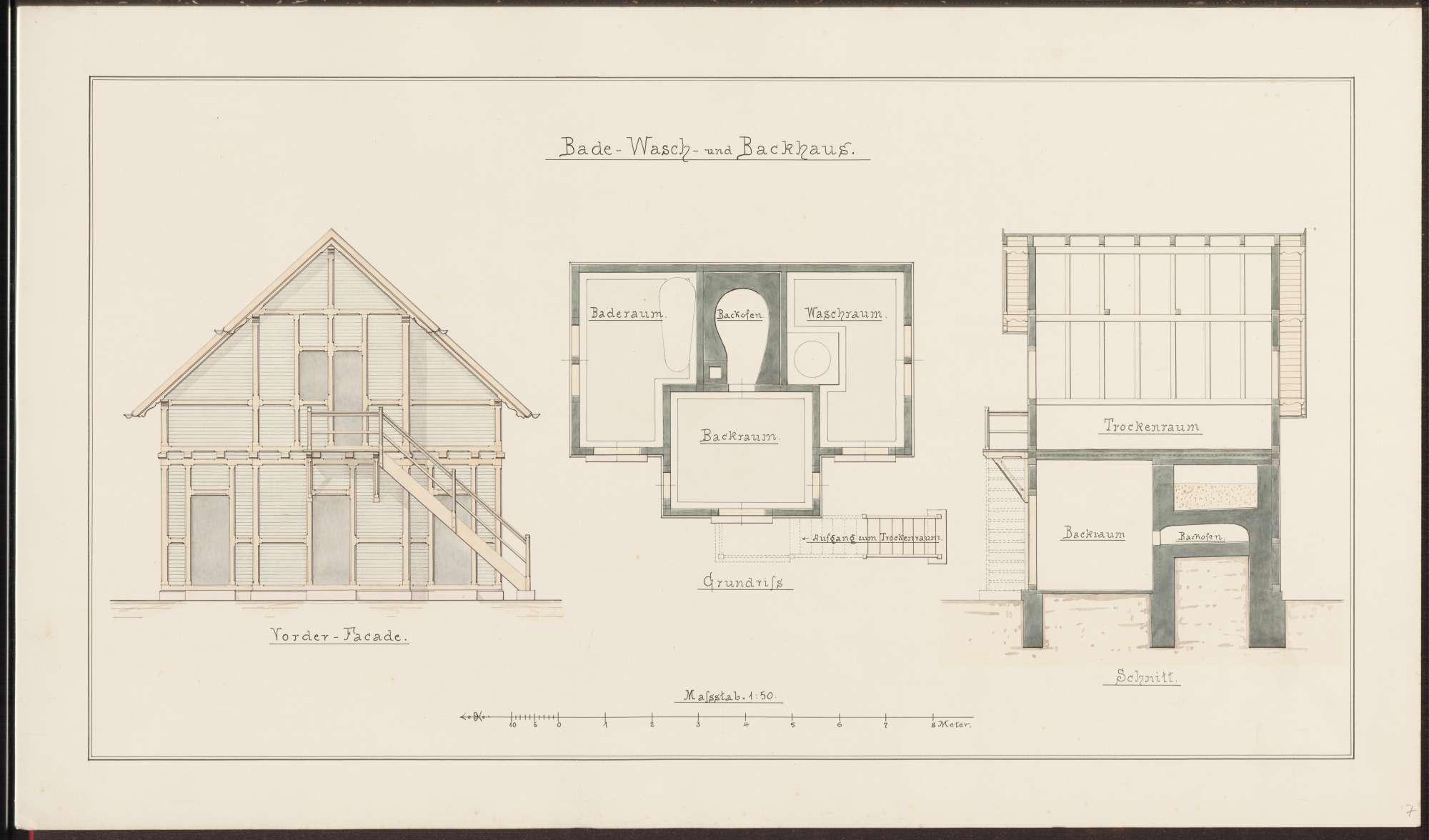 Aufriss, Grundriss und Schnitt eines Bade-, Wasch- und Backhauses der Arbeiterhäuschen für Arbeiter des Heidelberger Portland-Cement-Werkes, Bild 1