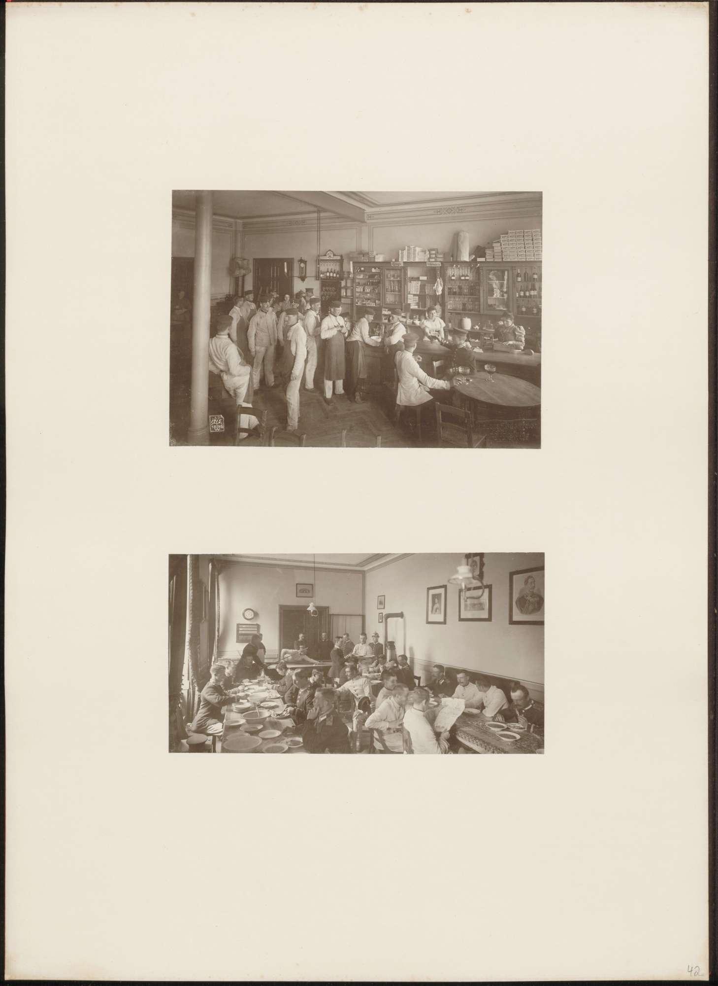 2 Aufnahmen von Mitgliedern des Königin Augusta Garde-Grenadier-Regiments Nr. 4 auf der Kantine, Bild 1