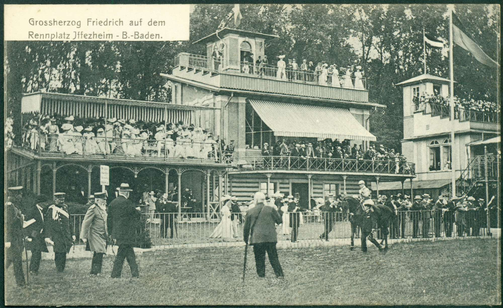 Baden-Baden-Iffezheim, Großherzog Friedrich I. auf der Pferderennbahn., Bild 1