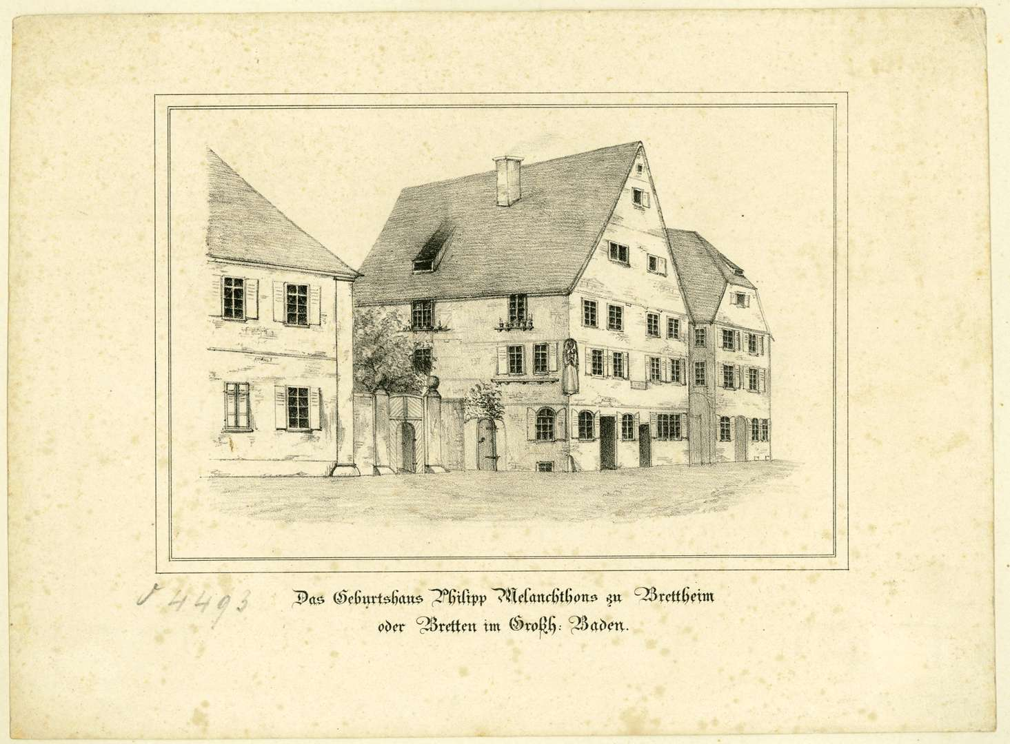 Das Geburtshaus Philipp Melanchtons zu Brettheim oder Bretten im Großh. Baden, Bild 1