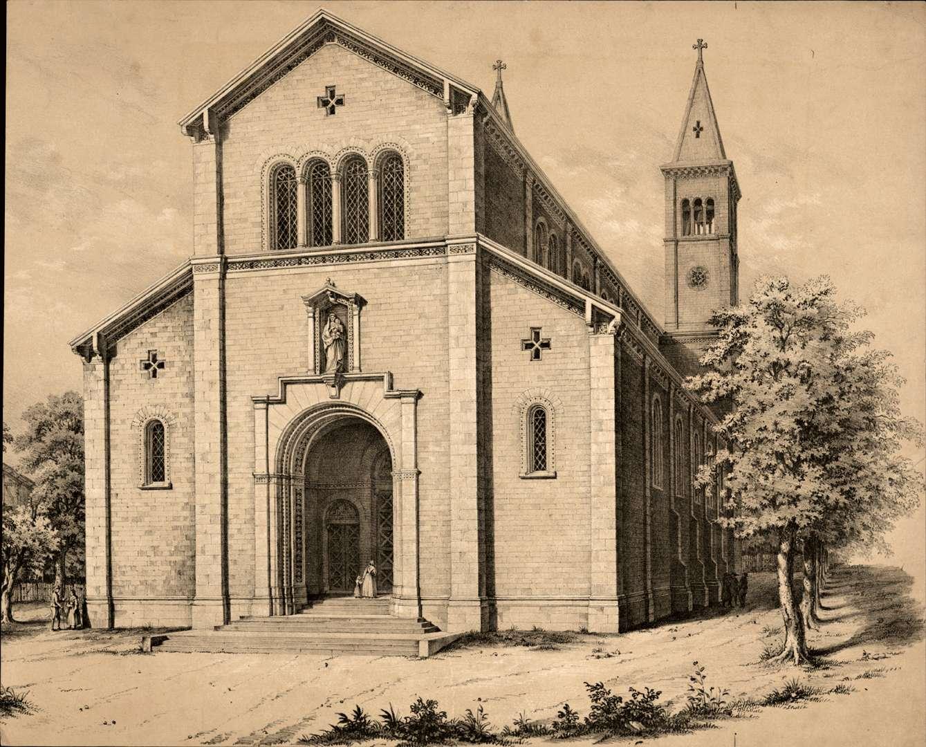Ansicht der neuen Kirche, Portalseite, Bild 1