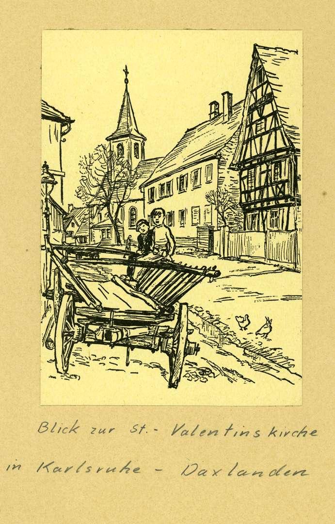 Blick zur St. Valentinskirche in Daxlanden, Bild 1