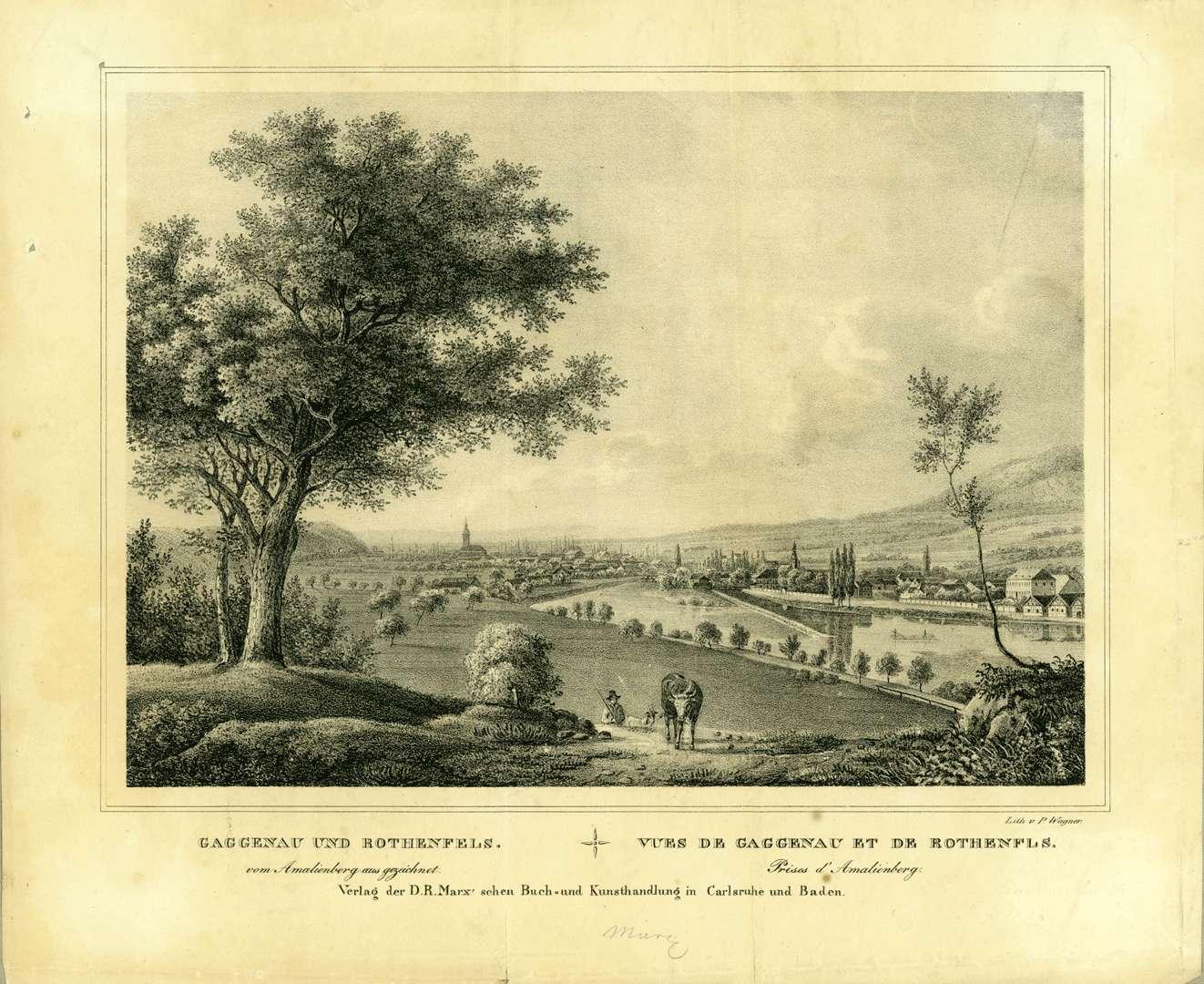 Gaggenau und Rotenfels vom Amalienberg aus gezeichnet, Vues de Gaggenaz et de Rothenfls, Prises de l`Amalienberg, Bild 1