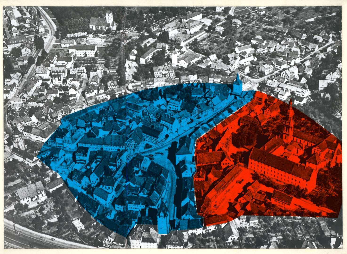 [Luftbild von Gengenbach mit Einfärbung des Areals von Reichsstadt und Reichsabtei], Bild 1