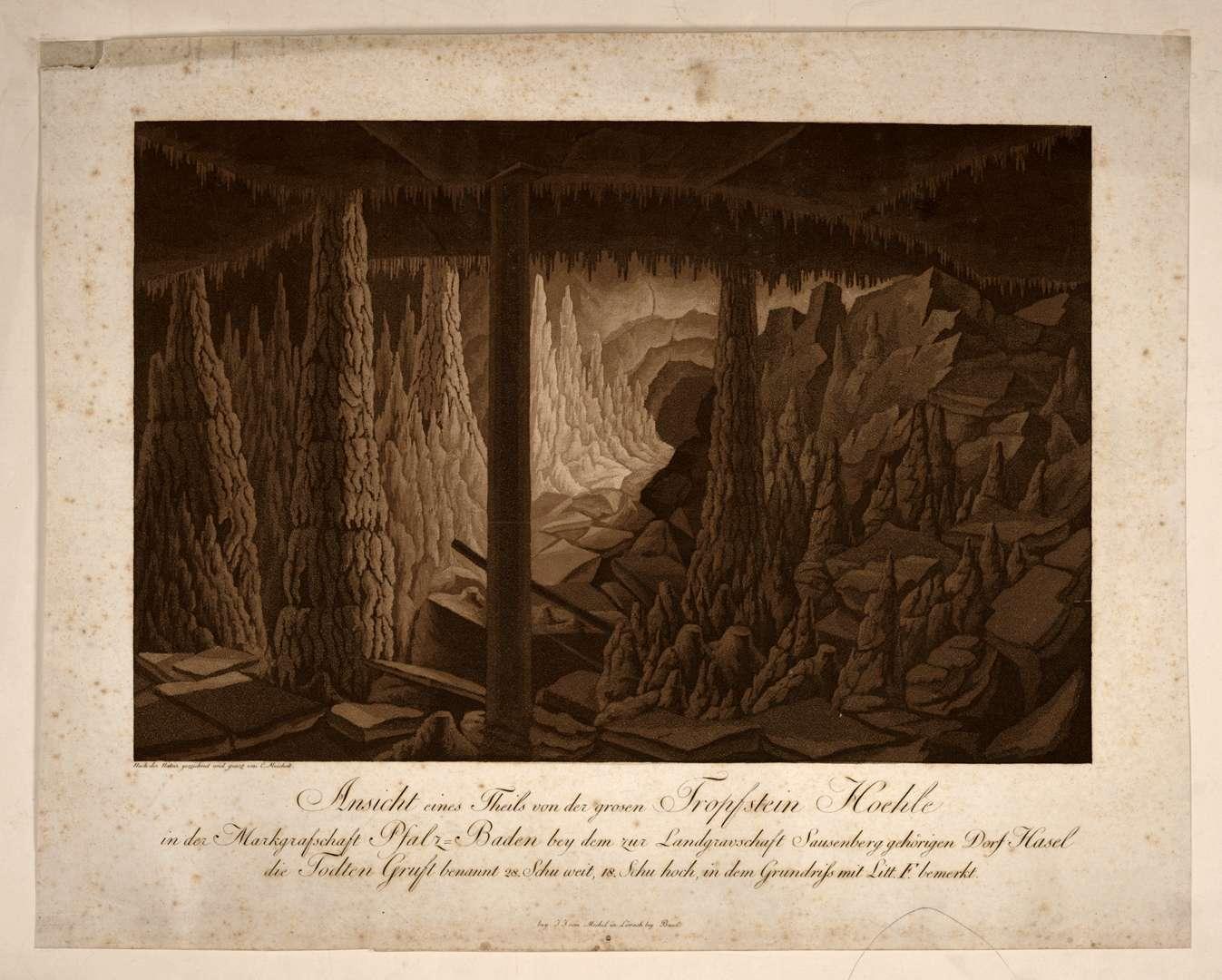 Ansicht eines Theils von der grosen Tropfstein Hoehle in der Markgrafschaft Pfalz-Baden bey dem zur Landgravschaft Sausenberg gehörigen Dorf Hasel die Todten-Gruft benannt, Bild 1