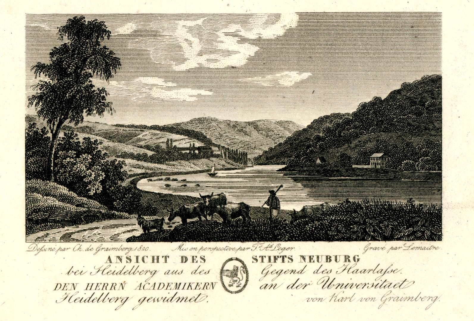 Ansicht des Stifts Neuburg bei Heidelberg aus der Gegend des Haarlass. Den Herrn Academikern an der Universitaet Heidelberg gewidmet von Karl von Graimberg, Bild 1