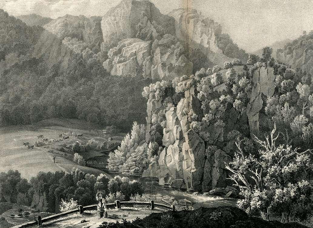 Die Füllen-Felsen zwischen Weissenbach & Langenbrand im Murgthal, Les Rochers entre Weissenbach et Langenbrand. dans la vallée de la mourg, Bild 1