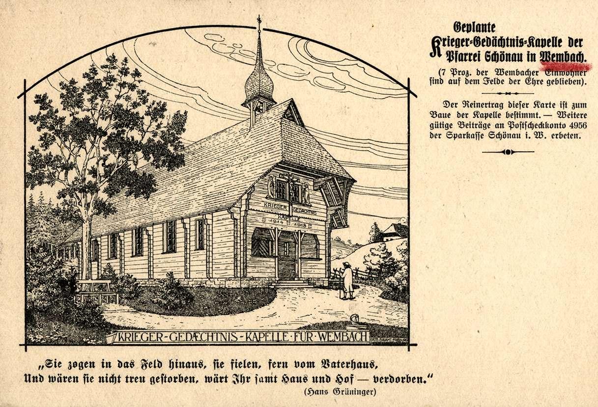 Geplante Krieger-Gedächtnis-Kapelle für Wembach, Bild 1
