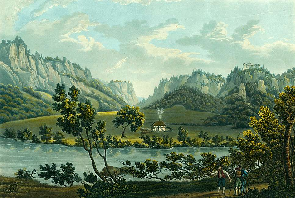 Ansicht des Schlosses Wildenstein, Vue du Chateau de Wildenstein, Bild 1