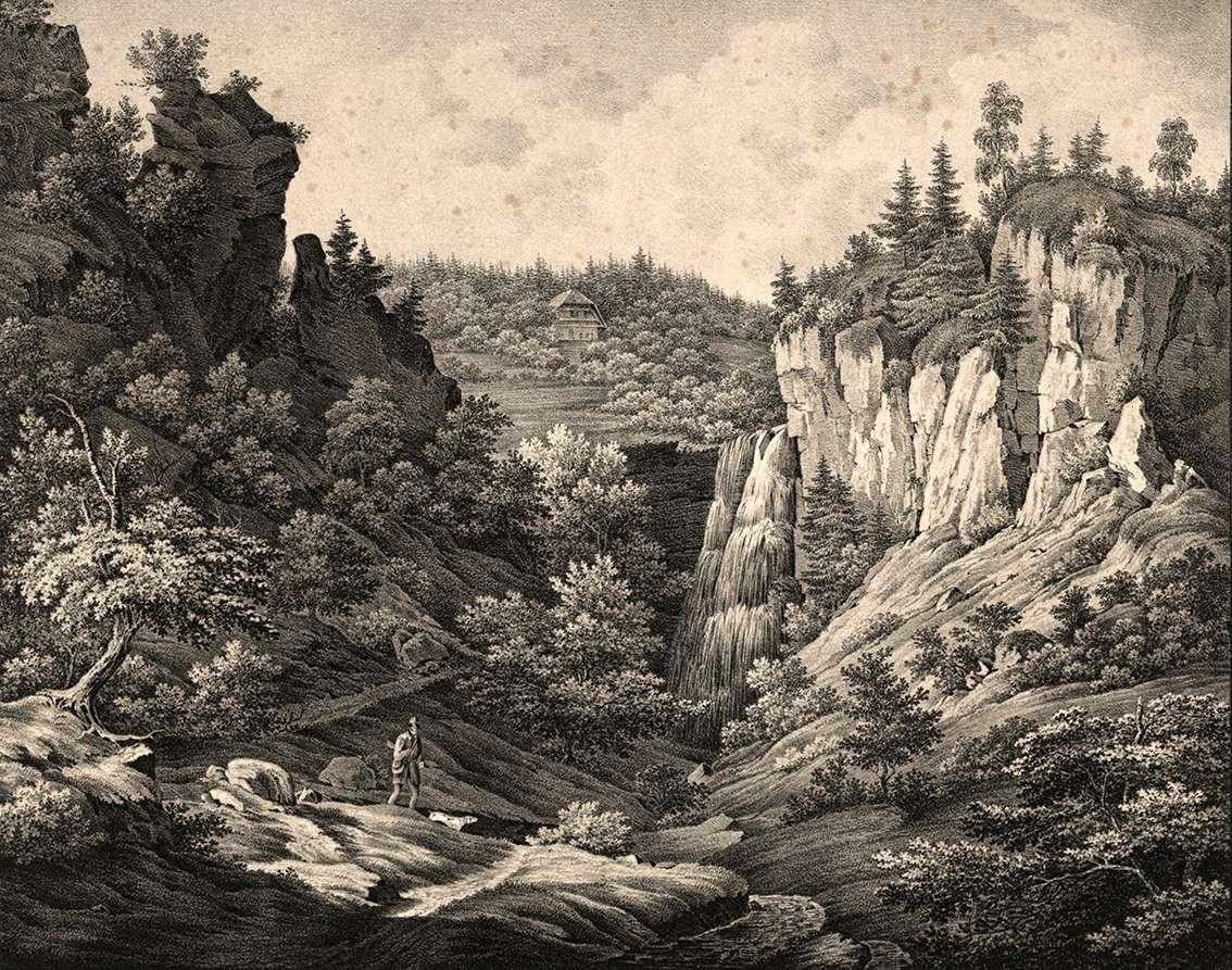 Fall des Burgbaches im Schappacher Thal, La chute du Burgbach dans la vallée de Schappach, Bild 1