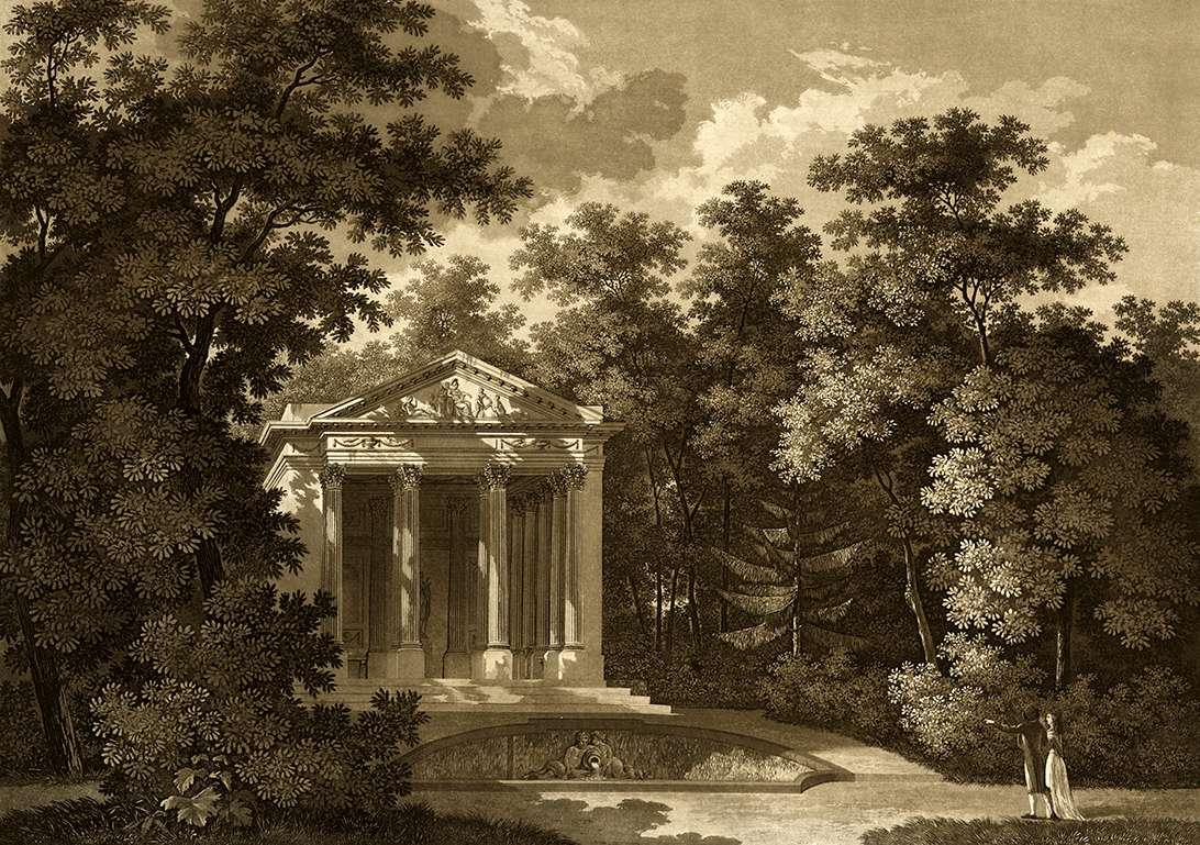 Der Minerva Tempel in dem Churf. Schwetzinger Garten, Le temple de Minerve dans le jardin Elect. de Schwetzingen, Bild 1