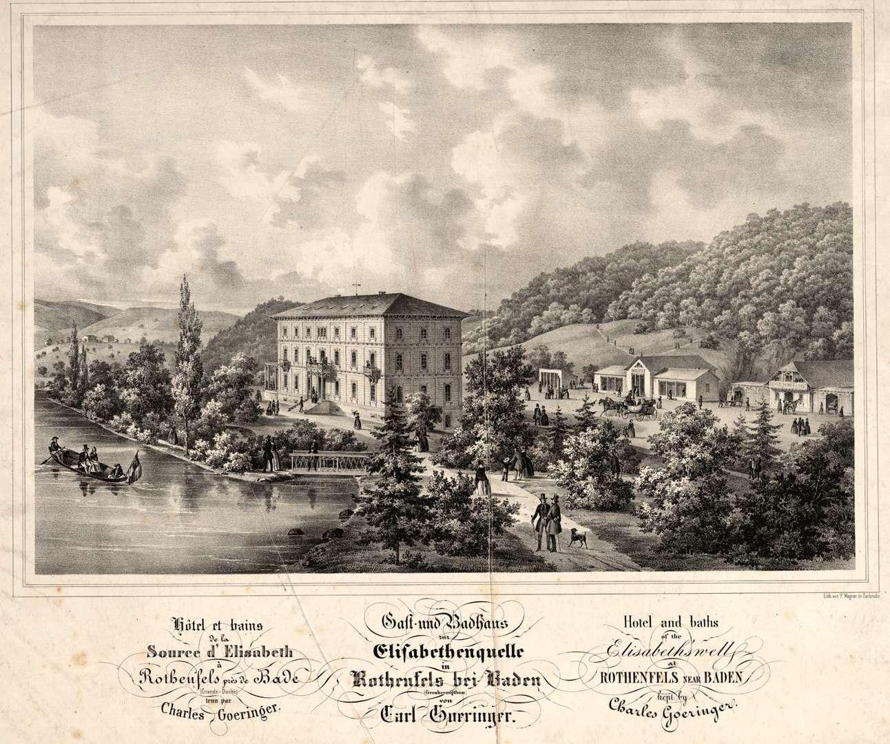 Gast- und Badhaus zur Elisabethenquelle in Rothenfels bei Baden (Grosherzogtum) von Carl Goeringer, Hotel et bains de la source d