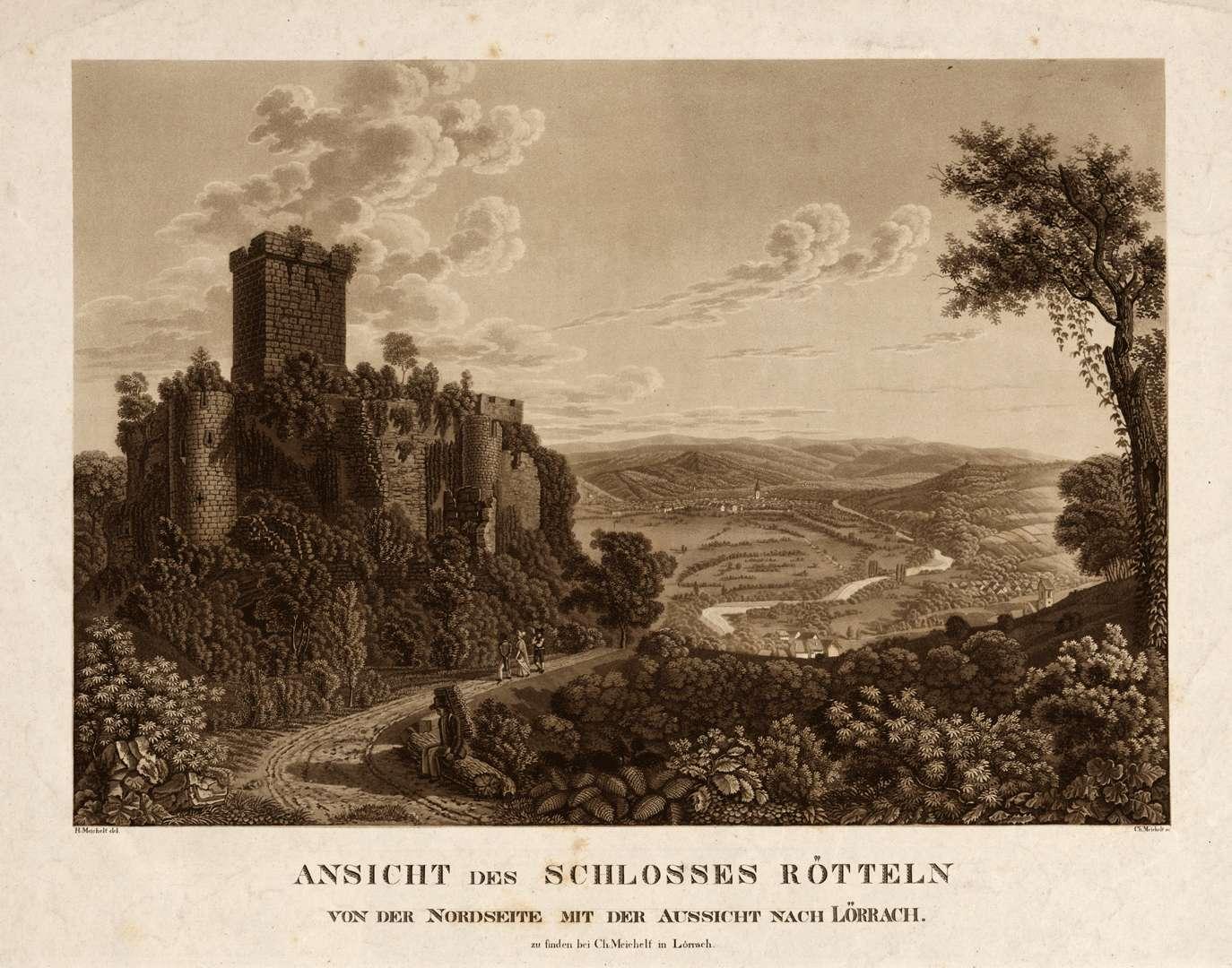 Ansicht des Schlosses Rötteln von der Nordseite mit der Aussicht nach Lörrach, Bild 1