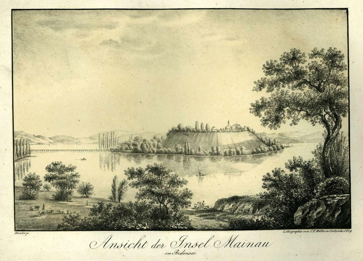 Ansicht der Insel Mainau im Bodensee, Bild 1