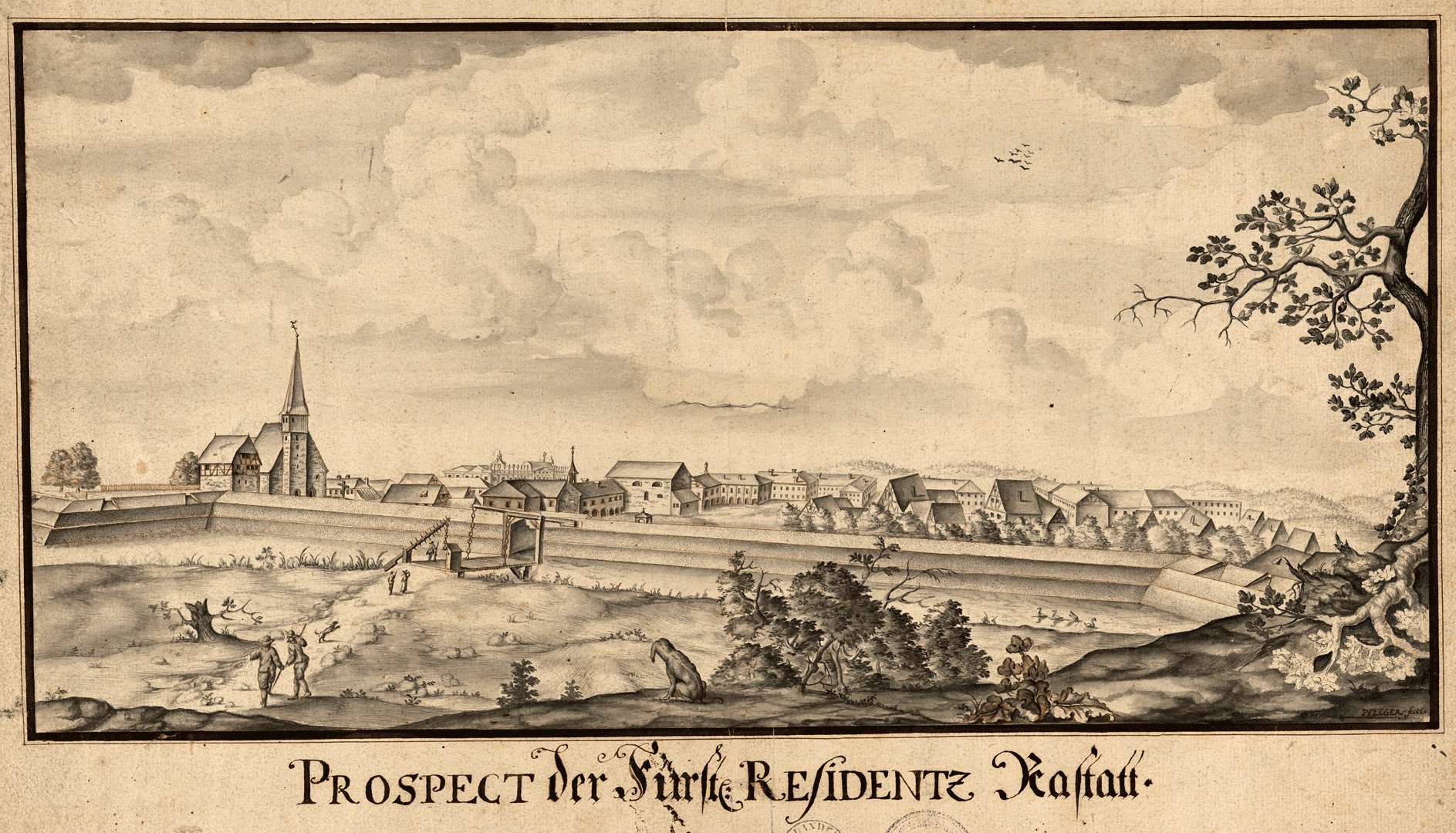 Prospect der Fürstl. Residenz Rastatt, Bild 1