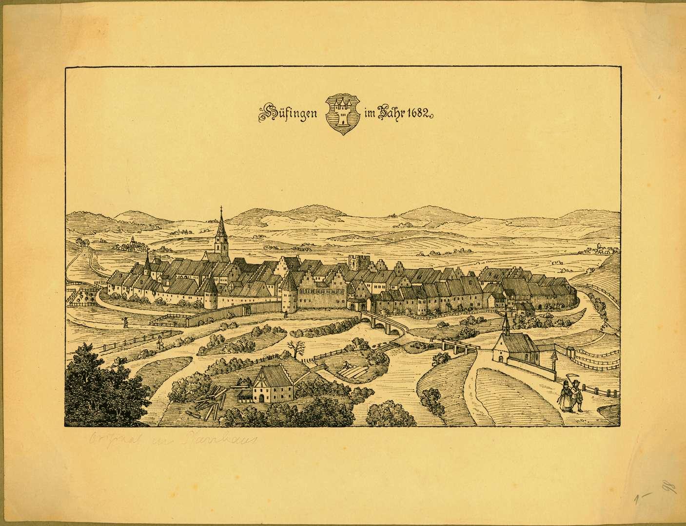 Ansicht der Stadt Hüfingen 1682, Bild 1