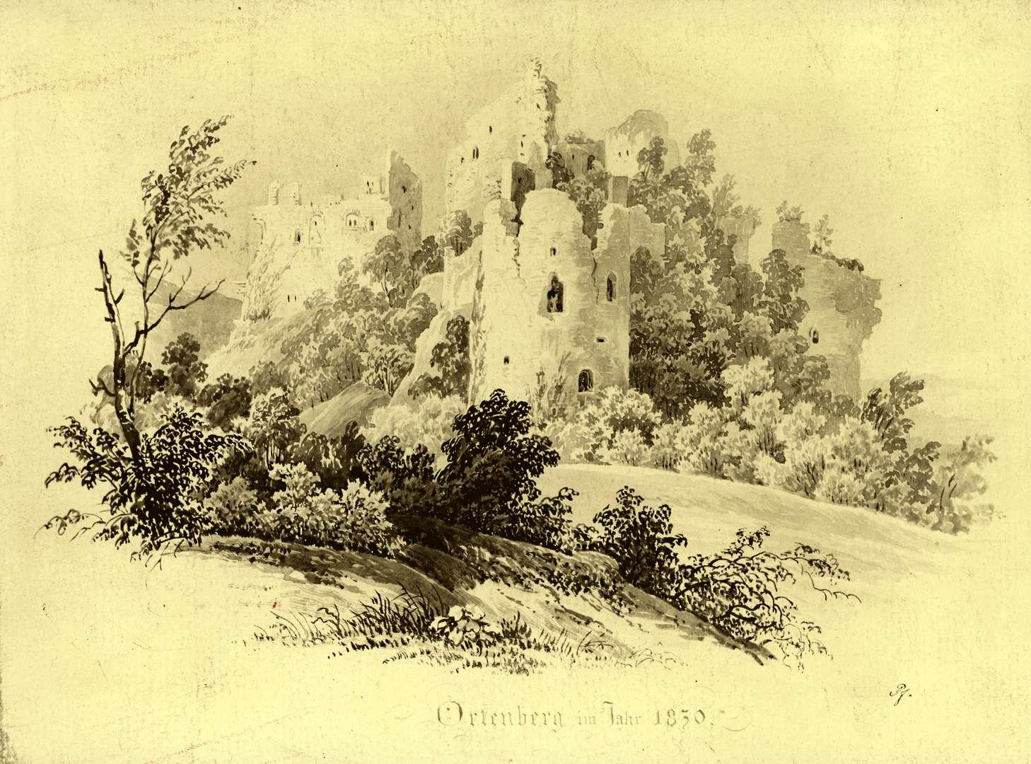 Schloss Ortenberg im Jahr 1830, Bild 1