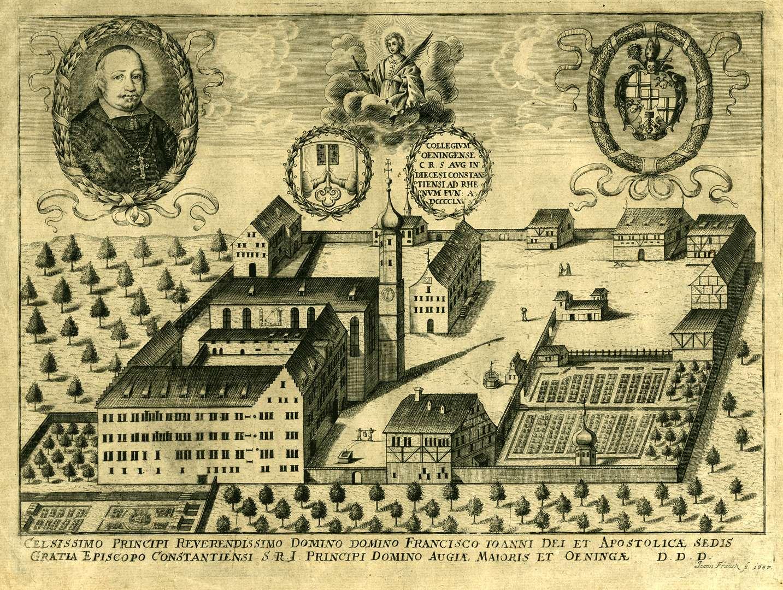 Collegivm Oeningense C. R. S. Avg. in Diecesi Constantiensi ad Rhenvm fvn. a. DCCCCLXV, Bild 1