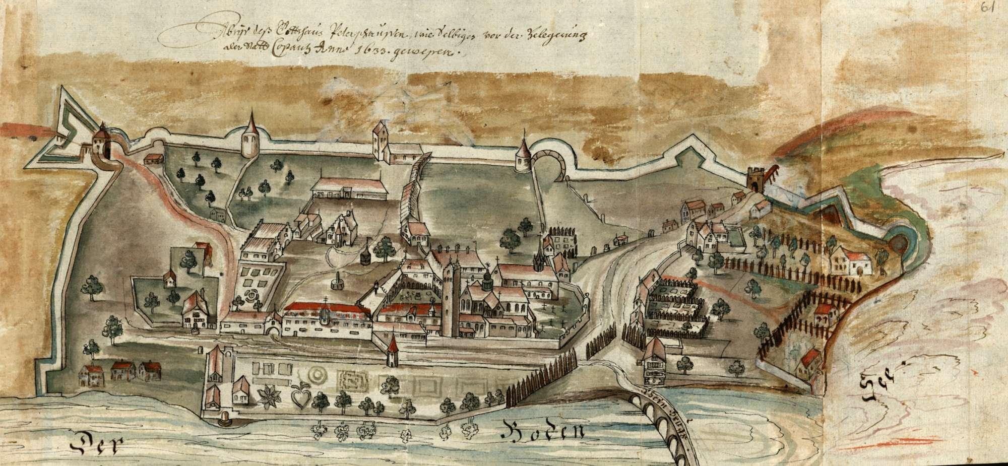Abriß des Gottshaus Petershausen, wie selbiges vor der Belegerung der Statt Costantz anno 1633 gewesen, Bild 1