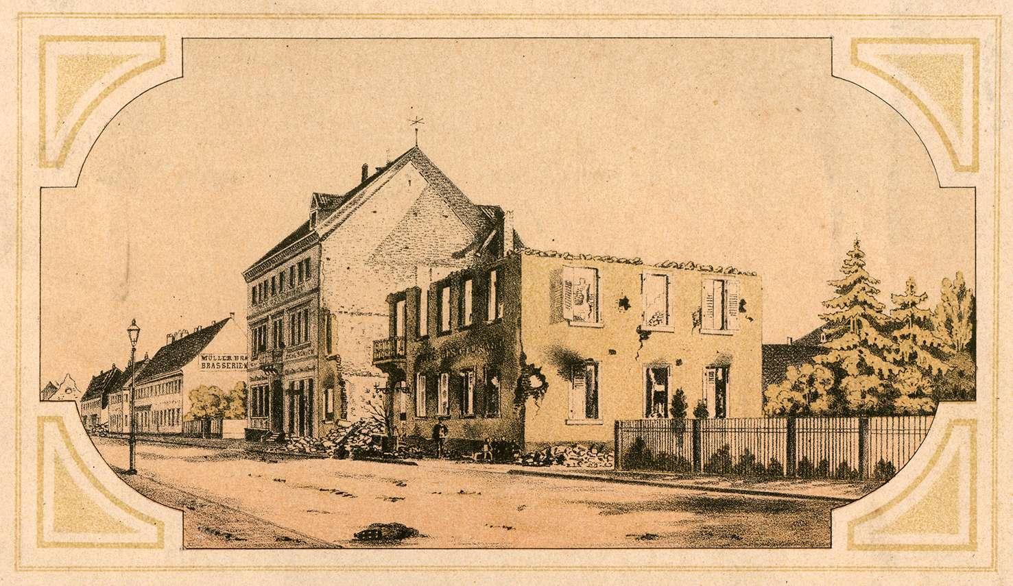 Gasthof zum Salmen von A. Bent in Kehl a. Rhein nach dem Bombardement 19. August 1870, Bild 1
