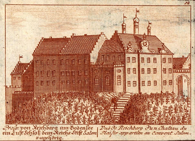 Prosp. von Reichberg [Kirchberg] am Bodensee, ein Lust-Schloss dem Reichs-Stift Salem zugehörig, vue de Reichberg d