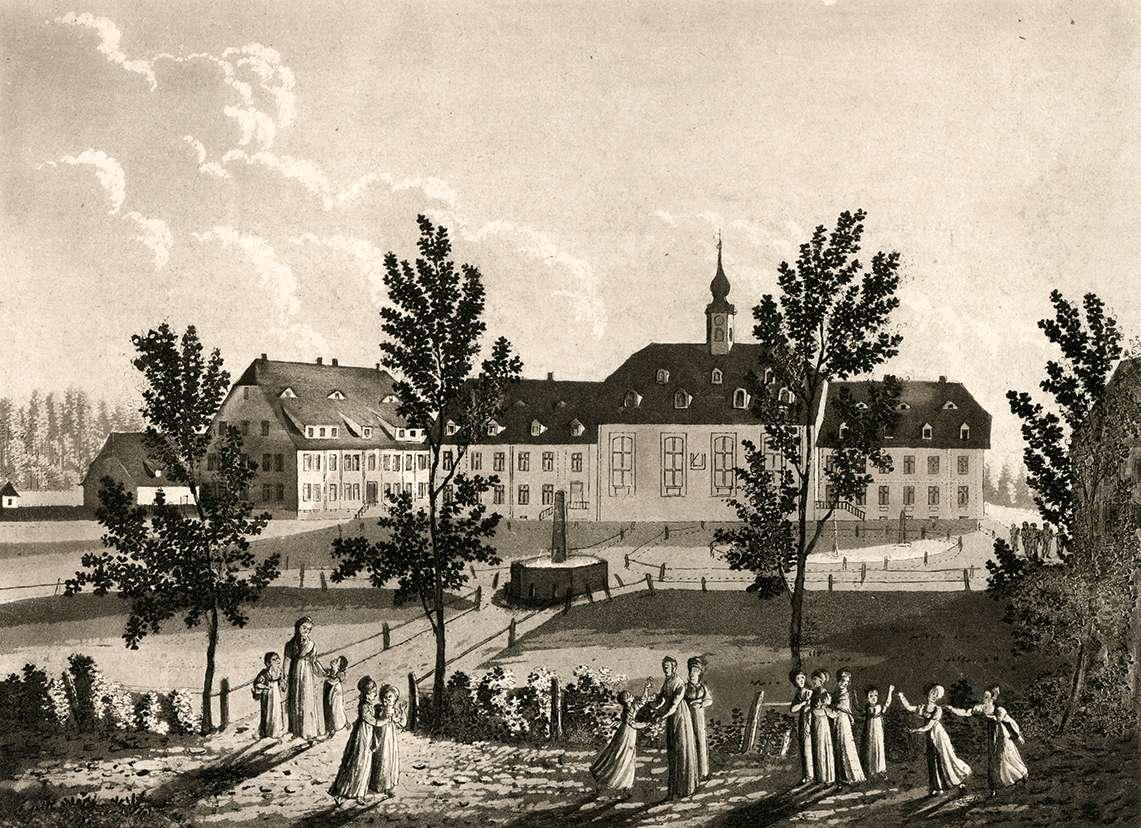Ansicht des Kirchensaals und der Erziehungs-Institute in Königsfeld, Bild 1