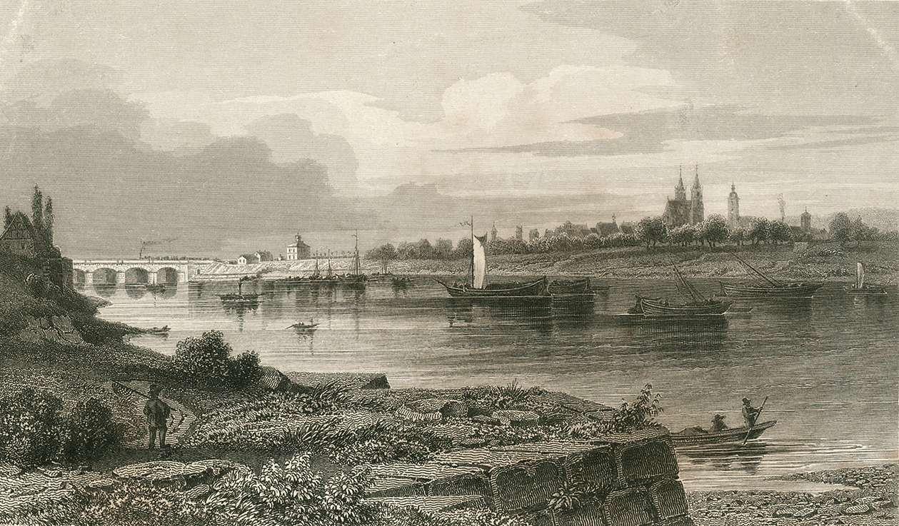 Ansicht von der gegenüberliegenden Neckarseite mit Brücke, Bild 1
