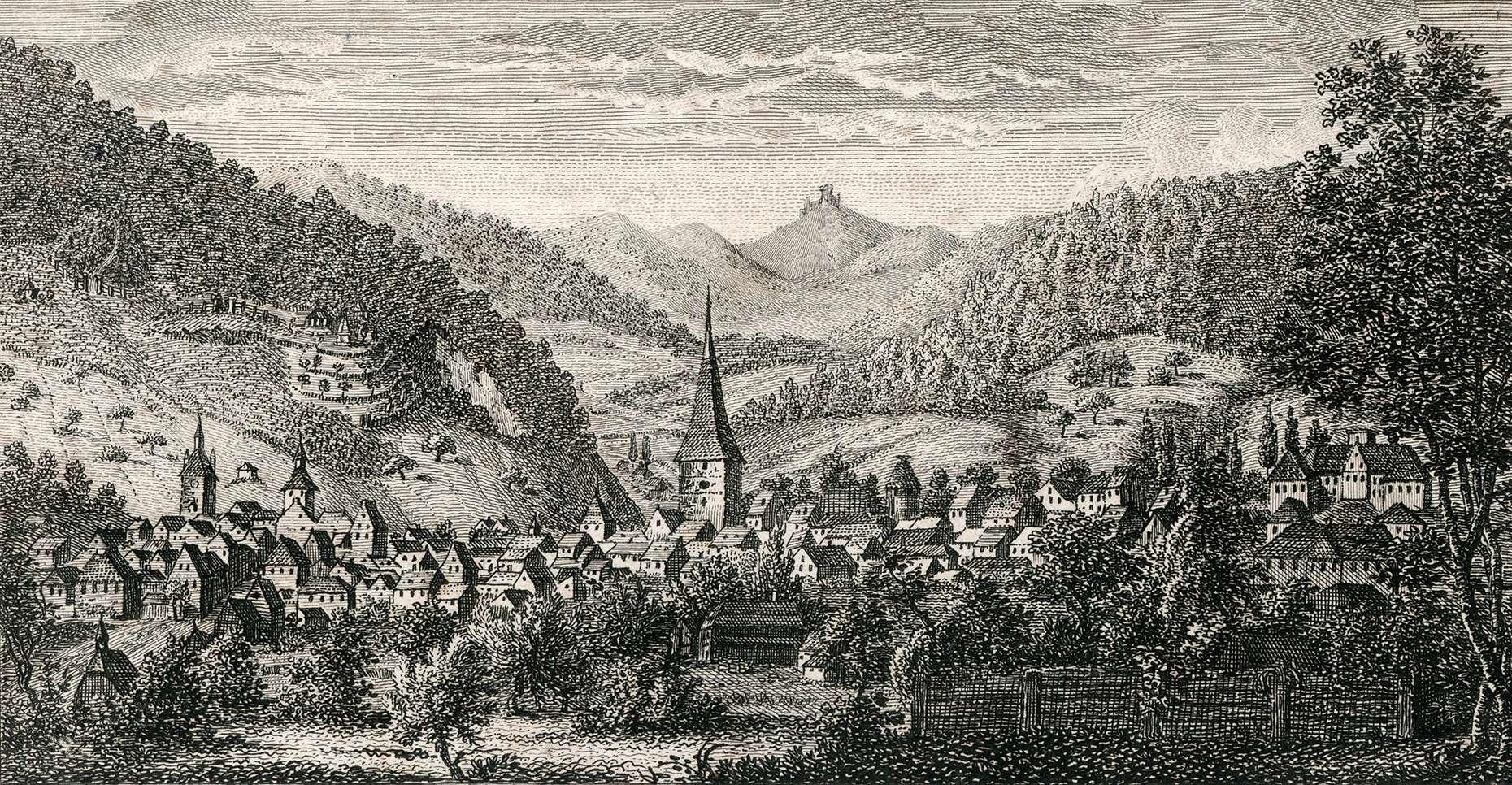Ansicht der Stadt Lahr gegen dem Schutterthal, Bild 1